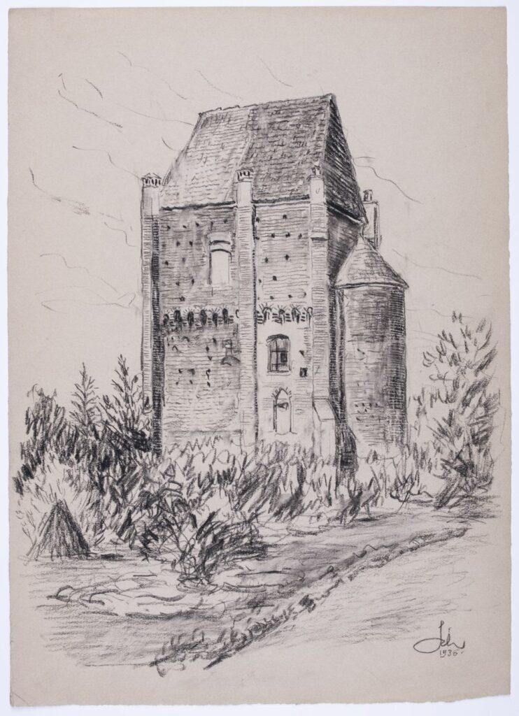 Rysunek przedstawia gotycką wieżę zamku w Szamotułach w ujęciu narożnikowym. Wieża przedstawiona w centrum pola obrazowego, otoczona niskimi drzewami i krzewami rosnącymi na trawniku. W prawej części pola obrazowego u dołu fragment drogi. Budynek na rzucie prostokąta, trójkondygnacyjny, kryty dachem dwuspadowym z wysoką absydą po prawej stronie. Na narożach oraz na osi dłuższej elewacji wysokie przypory przechodzące w sterczyny; przypora po prawej stronie z jednym uskokiem. W prawej części elewacji, między przyporami w pierwszej kondygnacji pojedyncze okno ostrołukowe, w kolejnej okno zamknięte łukiem odcinkowym. Trzecia kondygnacja nadwieszona na arkadkowym fryzie z uskokowymi konsolami, przetykana licznie otworami maczulcowymi. Okno tej kondygnacji zamknięte łukiem odcinkowym, umieszczone w lewej części elewacji, bliżej przypory na osi.