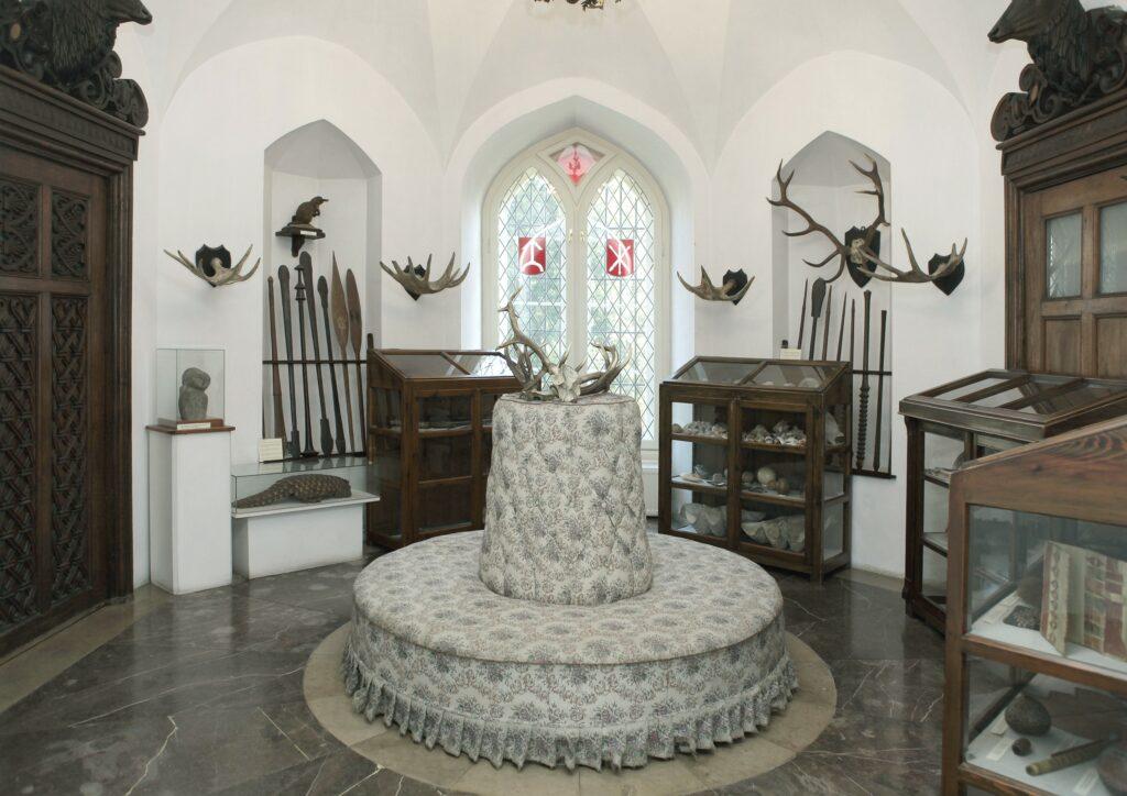 Ośmioboczne pomieszczenie w parterowej części baszty nakryte jest  sklepieniem kryształowym i oświetlone dwudzielnym gotyckim oknem. W  nadprożach drzwi umieszczone są rzeźbione, pełnoplastyczne głowy jeleni z  autentycznymi porożami. Na ścianach wiszą trofea myśliwskie – poroża  jeleni, łosi i danieli. Na okrągłej kanapce znajdują się splecione ze  sobą rogi jelenie, pozostałość po śmiertelnej walce dwóch rogaczy  znalezione w 1915 roku w lasach kórnickich.