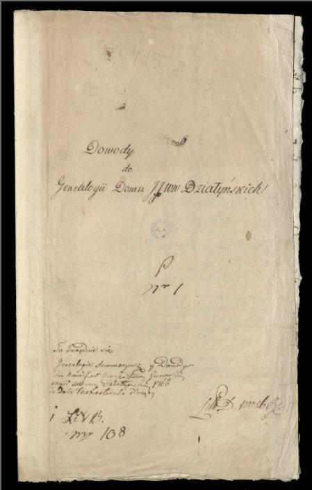 Karta rękopisu z napisem Dowody do genealogii domu J.J. WW. Działyńskich