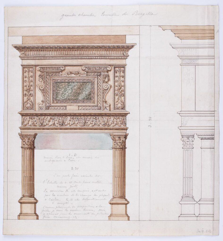 """Projekt kominka z napisem ołówkiem: """"grande chambre..."""" dalej nieczytelne. Poniżej rękopiśmienne notatki ołówkiem [autor nieokreślony]"""