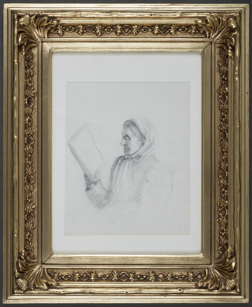 Popiersiowy portret kobiety w podeszłym wieku zwróconej twarzą lewym profilem, sylwetką w trzech czwartych w lewo. Kobieta ubrana w ciemną suknię z bufiastymi rękawami i prostokątnym kołnierzykiem. Twarz pomarszczona, usta wąskie, nos wydatny, oczy półprzymknięte, brwi ciemne. Na głowie ciemne, proste włosy z przedziałkiem pośrodku, na których założona jasna chustka zawiązana pod brodą, z rąbkami opadającymi na piersi. Lewa ręka na podołku, prawa podnosząca na wysokość oczu otwartą książkę.