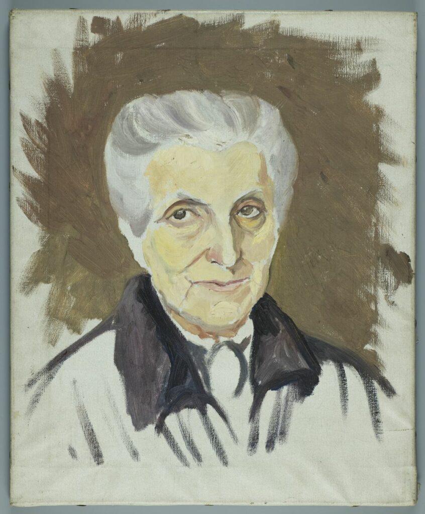 Niedokończony portret Marii Zamoyskiej. Twarz, włosy zaczesane do tyłu naszkicowane i wypełnione kolorem. Zarys czarnej sukni, brązowe tło.