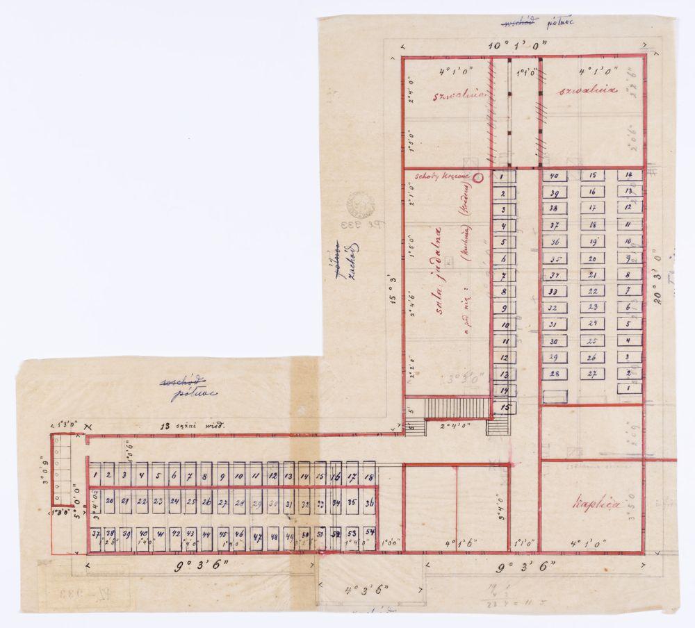 Rysunek architektoniczny będący projektem urządzenia wnętrz w Szkole Domowej Pracy Kobiet w Zakopanem-Kuźnicach.