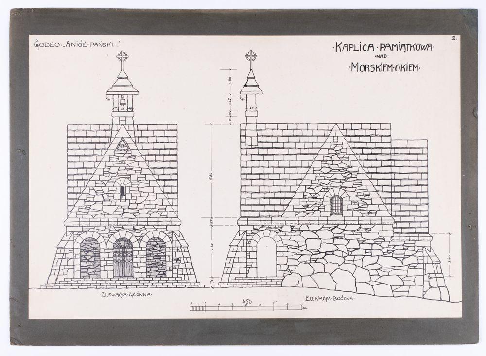 """Kaplica """"Anioł Pański"""" nad Morskim Okiem – projekt budynku w tylu góralskim wykonanego z ciosanych kamieni. Rysunek wykonany w kolorach czarno-białych kreską techniczną."""