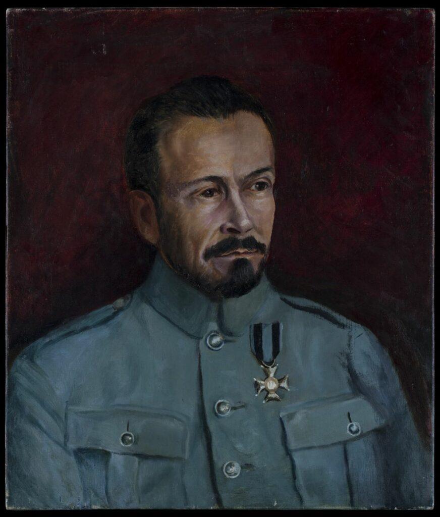 Obraz olejny na płótnie, portret mężczyzny w mundurze z orderem na piersi.