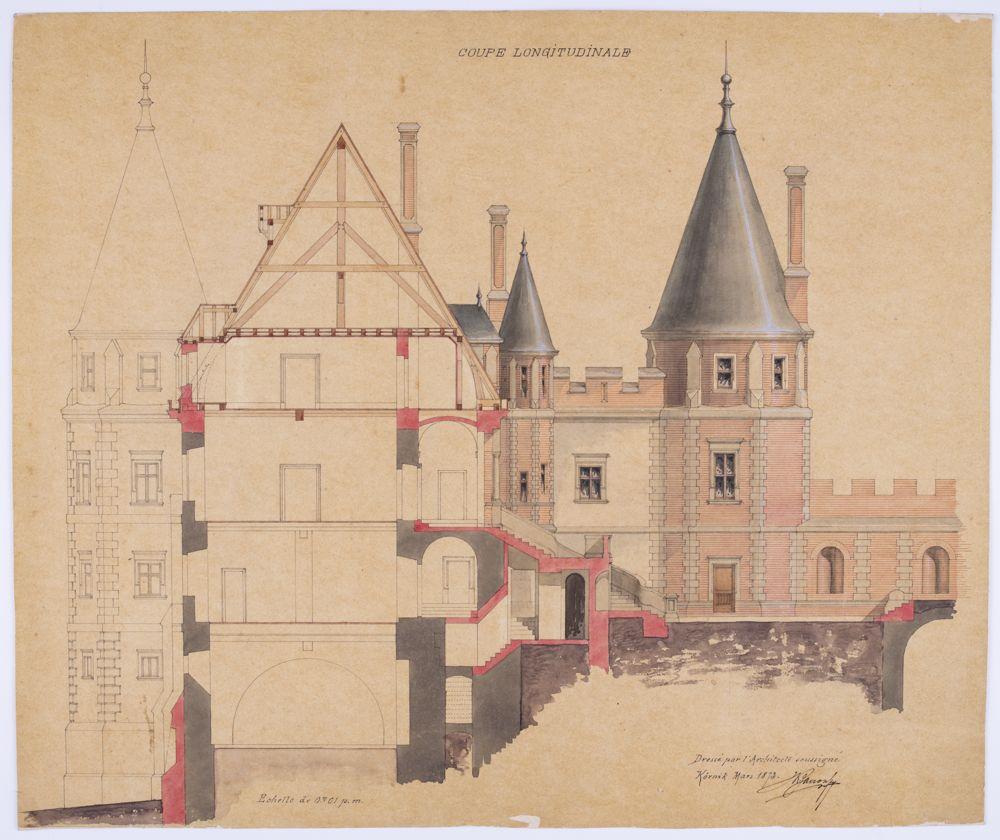 Rysunek tuszem kolorowym przedstawiający plan architektoniczny przebudowy zamku w Gołuchowie. Podpis autora w prawym dolnym rogu.