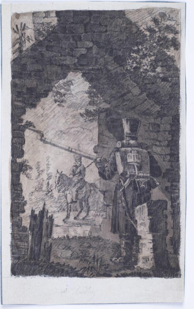 Rysunek i rękopis ołówkiem, akwarela, na papierze przyklejonym, wzdłuż górnego brzegu, do podkładki z niebieskiego papieru. Autor bardzo silnie naciskał ołówkiem na papier lub rysował na miękkim podłożu co spowodowało wyciśnięcie rysunku na rewersie (relief). Żołnierz trzymający broń stoi za murem i obserwuje żołnierza na koniu.