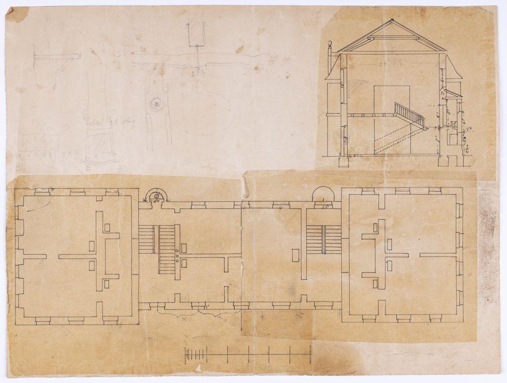 Projekt przebudowy oficyny zachodniej przy zamku w Kórniku na budynek biblioteczny, około 1870 r.] Rysunek tuszem i ołówkiem na kalce technicznej naklejonej na podkładkę papierową na której wykonano dodatkowe szkice ołówkowe.