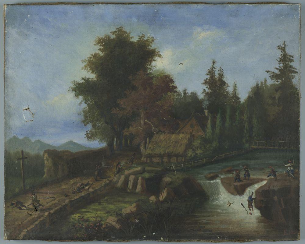 Pejzaż w okolicy górzystej, malowany w tonach zielono-brązowych i niebieskich (niebo), z akcentami bieli (obłoki, wodospad). Po prawej na pierwszym planie rzeczka płynąca ze strony widza z fragmentarycznym widocznym brzegiem i skalistym progiem tworzącym wysepkę i wodospad. W głębi mostek. Po lewej wiodąca w głąb droga, na pierwszym planie odkryta, dalej porośnięta starymi drzewami. Między rzeką i drogą zagroda wiejska częściowo ukryta wsród drzew. Niebo niebieskie zasnute białymi i złocistymi obłokami. Z lewej w głębi łąńcuch górski. Na tle pejzażu odbywa się potyczka. Po prawej, na brzegu i skalistym progu rzeczki żołnierze w bluzach, granatowych spodniach i czerwonych rogatywkach (powstańcy polscy?) - jeden z nich w białej bluzie i szablą w ręku wydaje rozkazy, trzej strzelają, jeden wpada do rzeki. Po drugiej stronie rzeki sześciu przeciwników w brunatnych mundurach - jedni z nich strzelają, inni padają w walce. Na moście kilku żołnierzy spieszących im na pomoc. Rama nowa, drewniana, złocista.