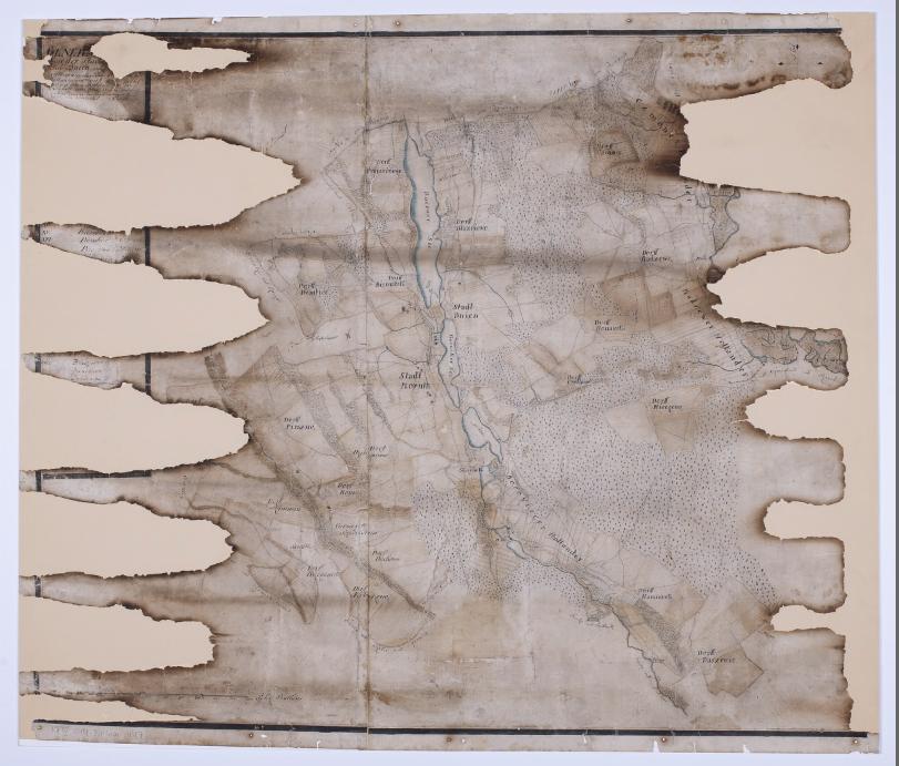 Kolejna   mapa  - niestety dość silnie uszkodzona - prezentuje okolice Kórnika z uwzględnieniem Radzewa i Radzewic, pochodząca z mniej więcej tego samego okresu (ok. 1780 roku).