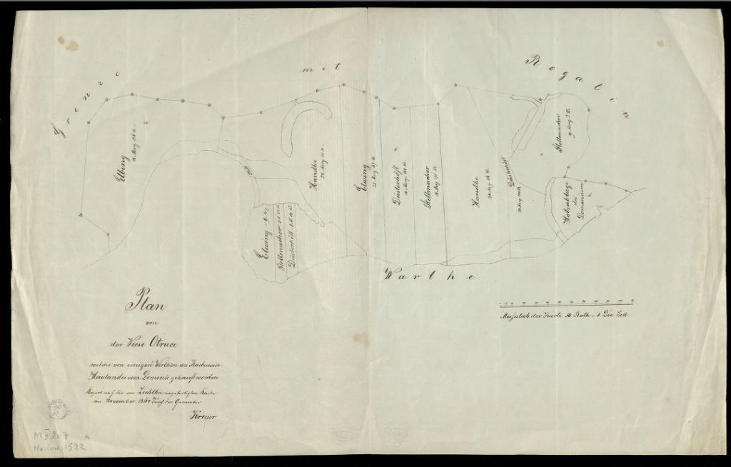 Plan, na którym widzimy  Łąki Otrucie w Radzewie, pochodzi z lat sześćdziesiątych XIX wieku, ale przedstawia stan z roku  1814.