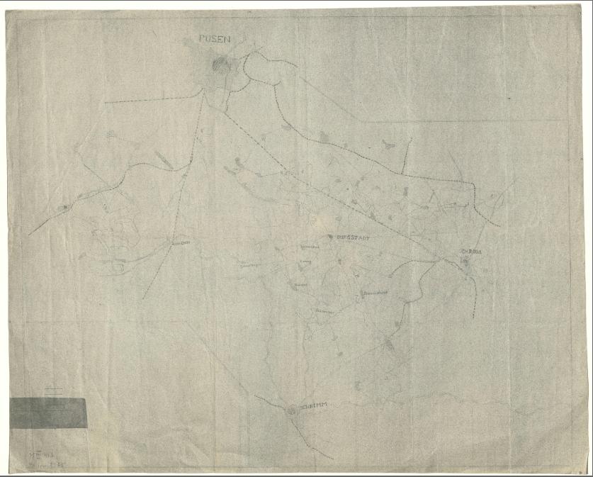Mapa pochodzi z okresu II wojny światowej, Radzewo występuje tu jako Radstett.