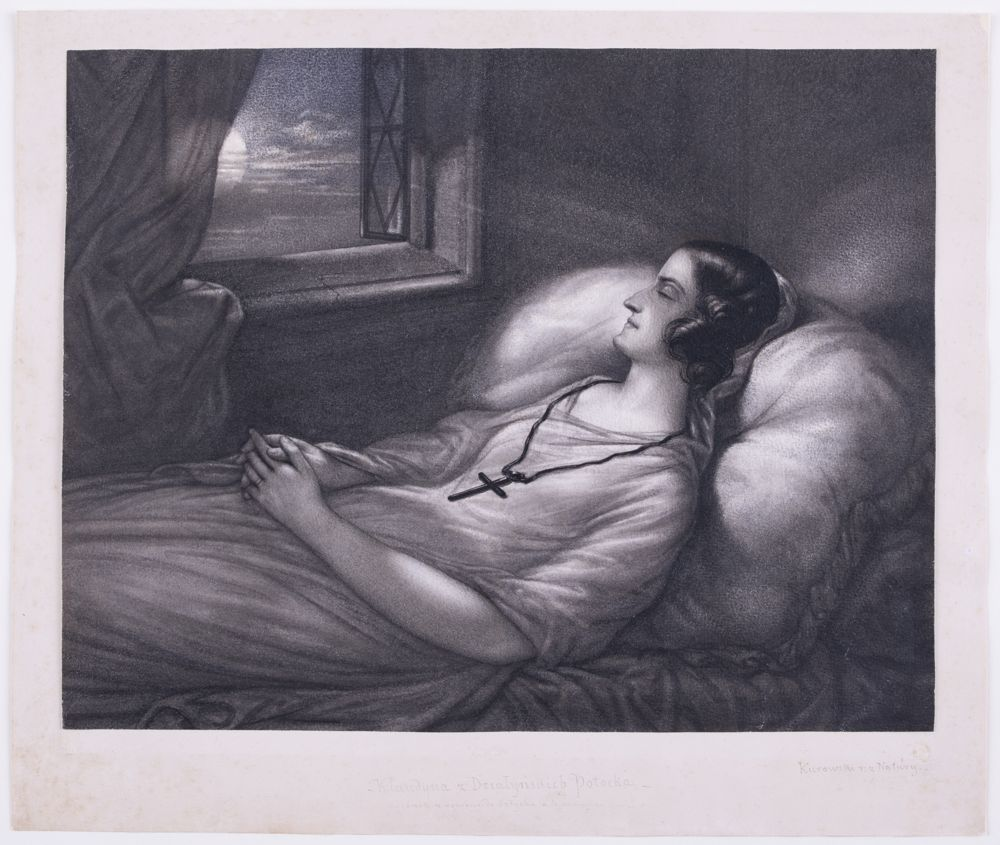 Rysunek – nokturn - przedstawia młodą kobietę, leżącą na wznak na łóżku dostawionym do ściany okiennej. Kobieta, ubrana w zwiewną, długą suknię, przedstawiona do wysokości kolan, leży głową w prawą stronę, z krzyżem zawieszonym na rzemieniu na szyi oraz rękami złożonymi na podołku. Jej oczy są zamknięte, głowa okolona czarnymi włosami utrefionymi nad karkiem. Kobieta leży na wysokiej poduszce z frędzlami na brzegu położonej u wezgłowia wąskiego łóżka nakrytego pomarszczonym prześcieradłem. Łóżko dostawione do naroża pokoju, przy ścianie okiennej. W lewej górnej części pola obrazowego otwarte okno, z kamiennym ościeżem profilowanym wałkiem, w lewej części przesłonięte przez transparentną zasłonę, przedstawioną przy lewej górnej krawędzi pola obrazowego. Skrzydło okienne z szybami ułożonymi w trapezy otwarte na zewnątrz, gdzie za chmurami ukazany księżyc w pełni.