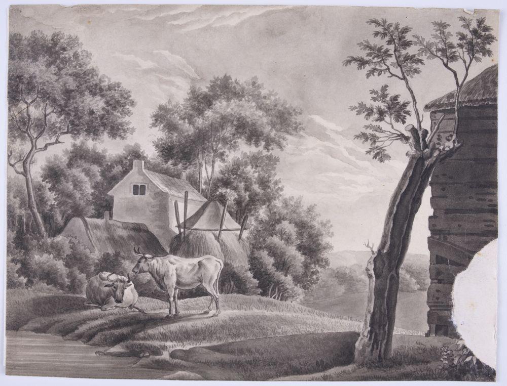 Obrazek przedstawia bydło u wodopoju, na wzniesieniu, na tle zabudowań wiejskich. Na pierwszym planie wzniesienie, ciągnące się skosem od prawej ku lewej krawędzi pola obrazowego. Na wzniesieniu przy prawej krawędzi pola obrazowego fragment drewnianego budynku krytego strzechą. Obok niego niski pień niemal pozbawionego gałęzi drzewa. W lewej części pola obrazowego brzeg ujęcia wodnego, porośnięty trawą. Na brzegu dwa woły; jeden stojący bokiem, drugi leżący. Między wołami a drewnianym budynkiem widoczne obniżenie terenu, z dalszymi wzniesieniami porośniętymi drzewami na horyzoncie. Za wołami, w lewej części pola obrazowego, na drugim planie niecka. W niej otoczone wysokimi, liściastymi drzewami dwa budynki w ujęciu narożnikowym, widoczne w partii górnych kondygnacji i dachów; pierwszy parterowy, kryty dachem dwuspadowym z niewielkim kominem, drugi piętrowy, z niewielkim oknem w szczycie, kryty dachem dwuspadowym z kominami w zwieńczeniu ścian szczytowych. Na prawo od budynków, bliżej osi obrazu paśnik wypełniony sianem. Powyżej nieco zachmurzone niebo.
